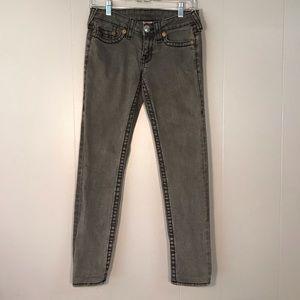 Gray True Religion Stella Big T Denim Jeans